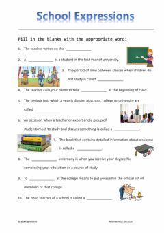 Interactive worksheet School expressions