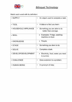 Interactive worksheet Definition of technology