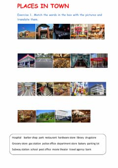 Ficha interactiva Places in Town 1. Location Expressions