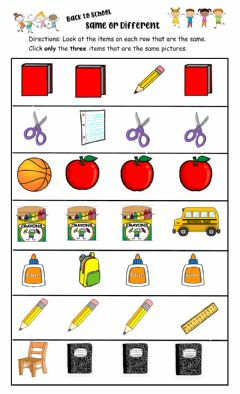 Interactive worksheet Same or different