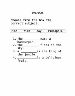 Interactive worksheet Subjects