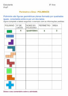 Interactive worksheet Perímetro e área
