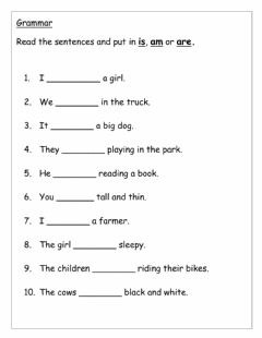 Interactive worksheet Is, am and are Verb to be