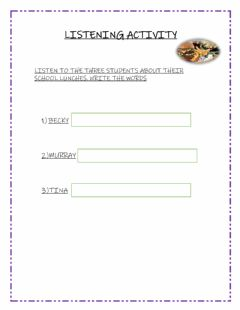 Interactive worksheet School lunches
