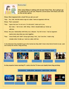 Interactive worksheet Relationship verbs- Tv shows and movies