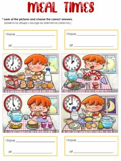 Interactive worksheet Meal times