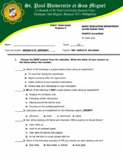 Interactive worksheet 1st term exam iExplore(science)