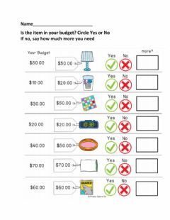 Interactive worksheet Budgeting