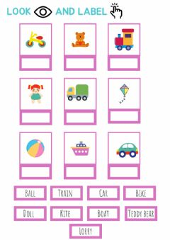 Ficha interactiva Toys: look and label
