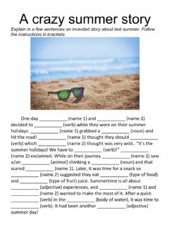 Interactive worksheet A crazy summer story. Writing