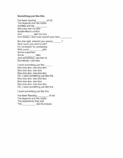 Interactive worksheet Fill in the Blank: Song- Something just like this