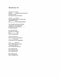 Interactive worksheet Beautiful Day- Song for Fill in the Blank