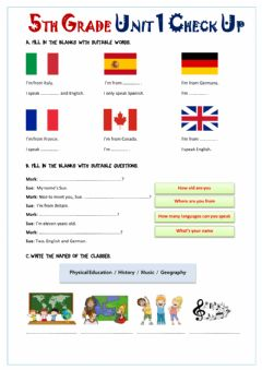 Interactive worksheet School Subjects 5.1. hello