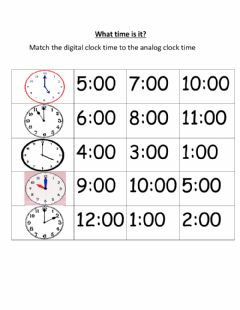 Interactive worksheet Matching time