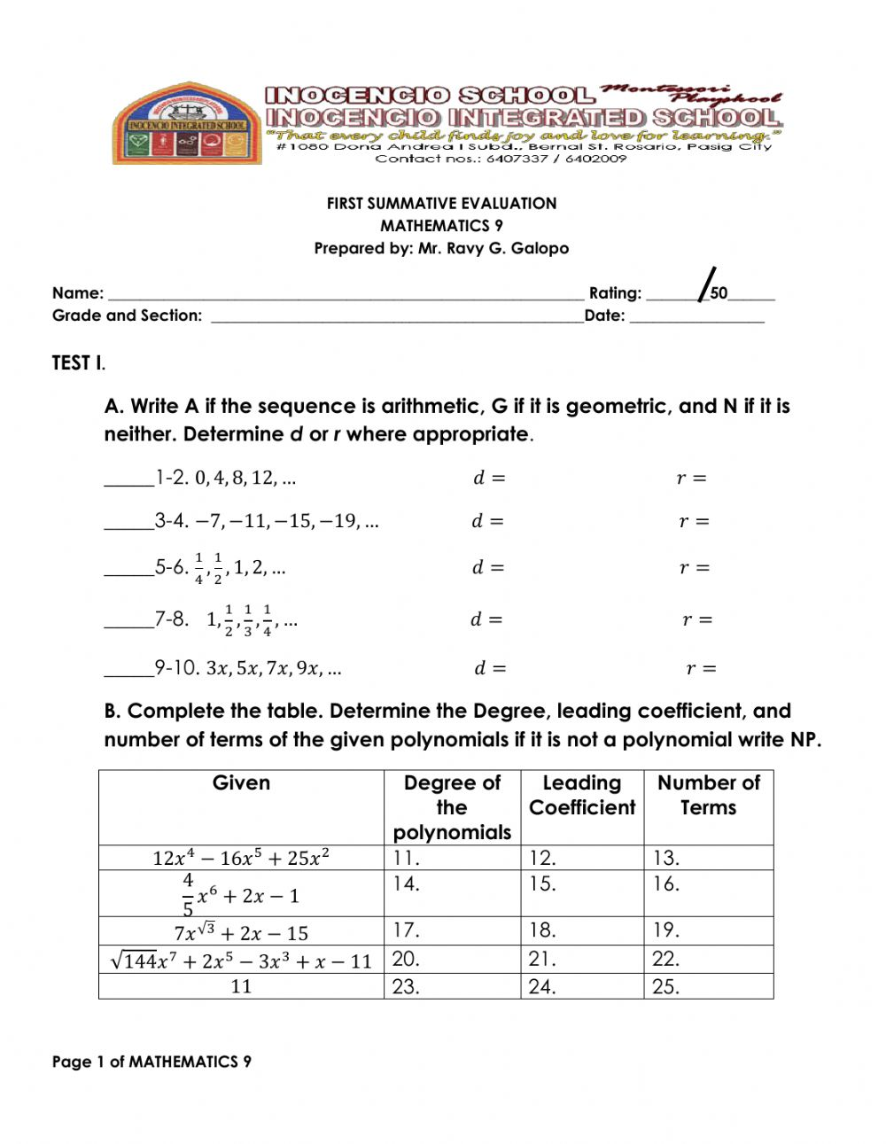 Mathematics 25 interactive worksheet Inside Arithmetic And Geometric Sequences Worksheet