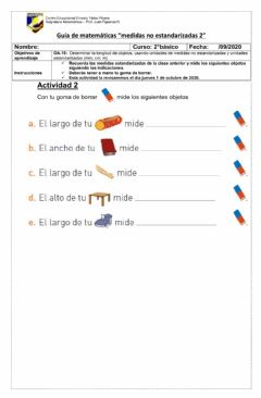 Interactive worksheet Medidas no estandarizadas