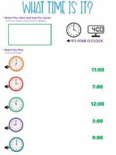 Ficha interactiva What time is it? (o'clock)