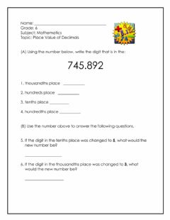 Interactive worksheet Place Value of Decimals