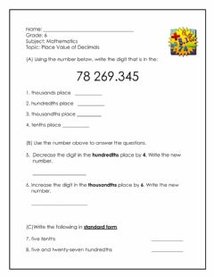 Interactive worksheet Place Value of Decimals 2