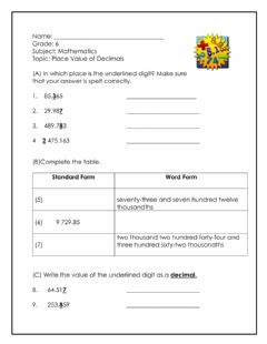 Interactive worksheet Place Value of Decimals 3