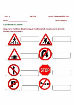Interactive worksheet Road sign