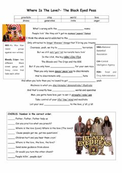 Interactive worksheet Where is the love song Black Eyed Peas