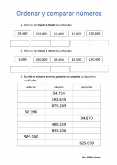 Interactive worksheet Comparar y ordenar números