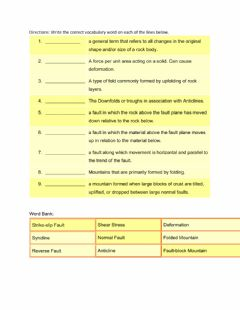 Interactive worksheet Mountain Building Vocabulary
