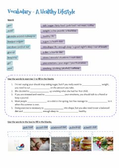 Interactive worksheet Vocabulary - A healthy lifestyle