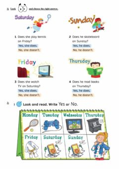Interactive worksheet Activities and days of the week