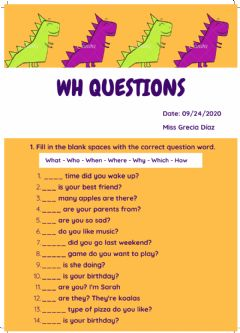 Interactive worksheet Wh Questions
