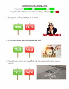 Interactive worksheet Guided Practice - Paying Taxes