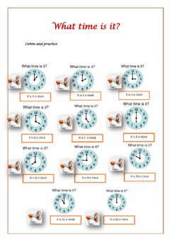 Interactive worksheet What time is ?