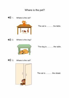 Interactive worksheet Where is the pet?