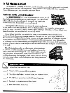 Interactive worksheet EuropeLocation,Climate and Natural Resources Packet