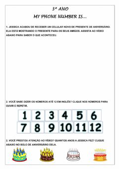 Interactive worksheet 3º ano - My phone number is...