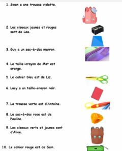 Interactive worksheet Les fourniture scolaires