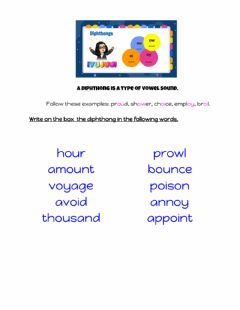 Interactive worksheet Vowel Diphthongs