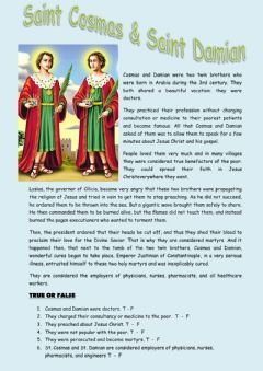 Interactive worksheet St Cosmas and Damian