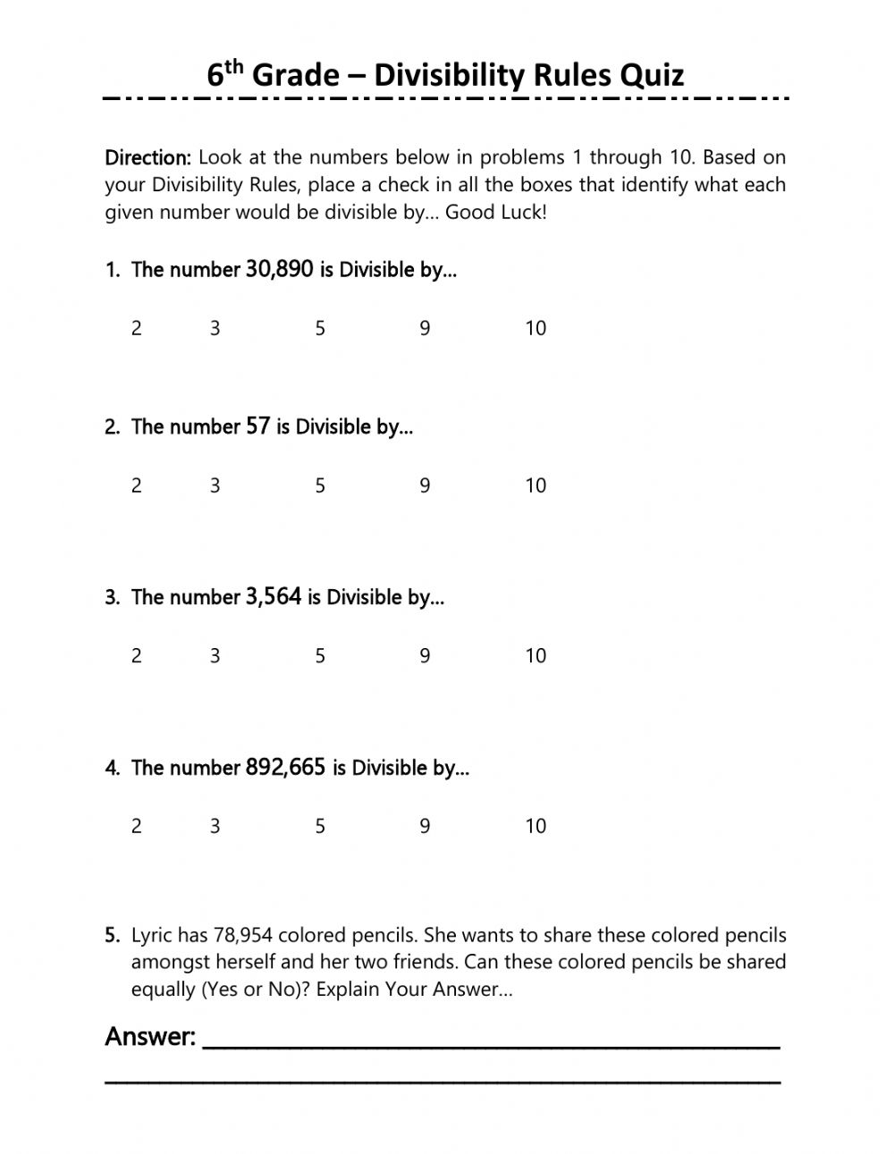 6th Grade Divisibility Rules Quiz Worksheet