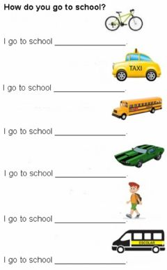 Interactive worksheet How do you go to school?