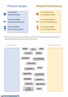 Interactive worksheet Present Simple & Present Continuous -  Key Words