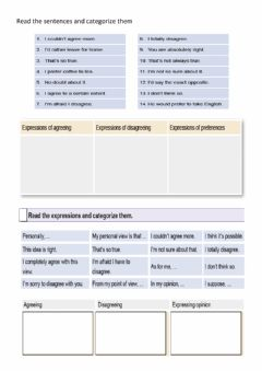 Interactive worksheet Agreeing-disagreeing-opinion