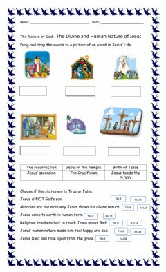 Interactive worksheet Main events in the Life of Jesus