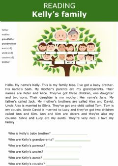Interactive worksheet Family tree - Kelly's family