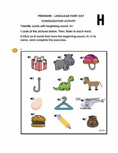 Interactive worksheet Identify words with beginning soung-h- in its name.