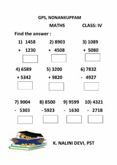 Interactive worksheet 4 digit addition and subtraction