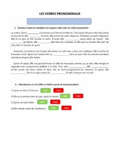 Interactive worksheet Les Verbes Pronominaux - A2