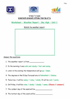 Interactive worksheet Weather Report Video - Sky High - Unit 1