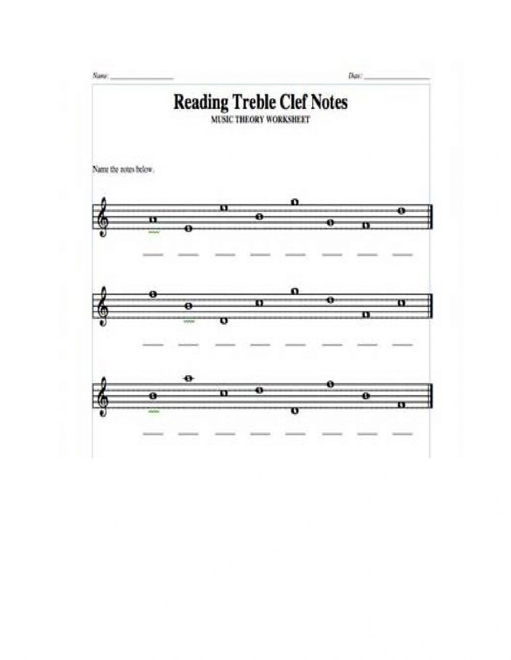 Treble Clef Line and space notes worksheet With Regard To Treble Clef Notes Worksheet